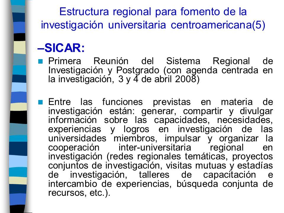 Estructura regional para fomento de la investigación universitaria centroamericana(5)