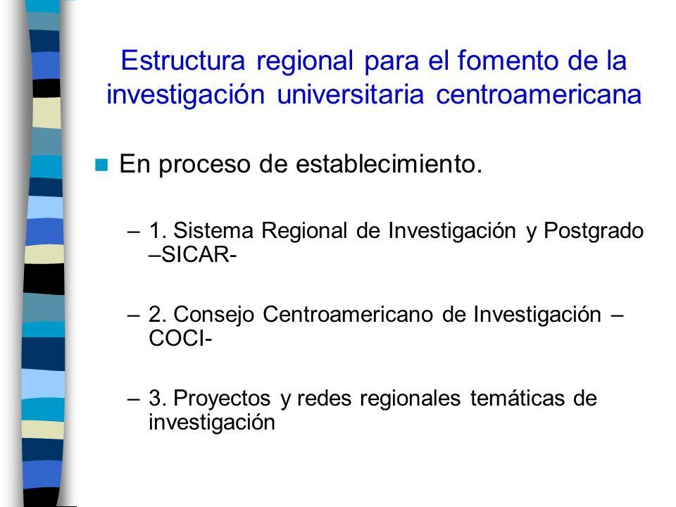 Estructura regional para el fomento de la investigación universitaria centroamericana