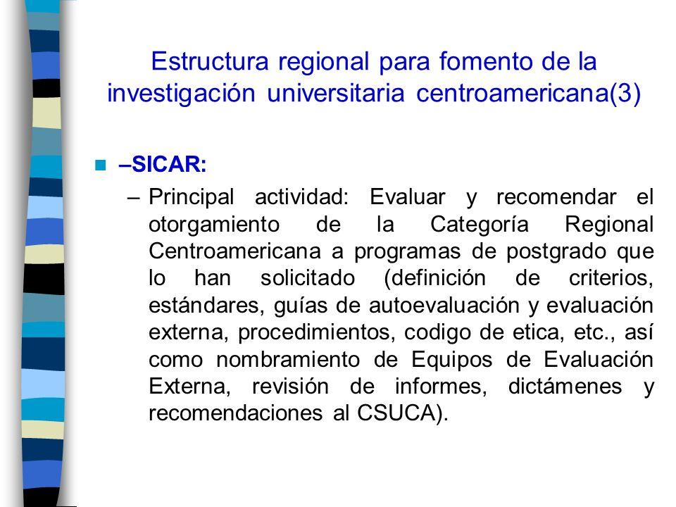 Estructura regional para fomento de la investigación universitaria centroamericana(3)