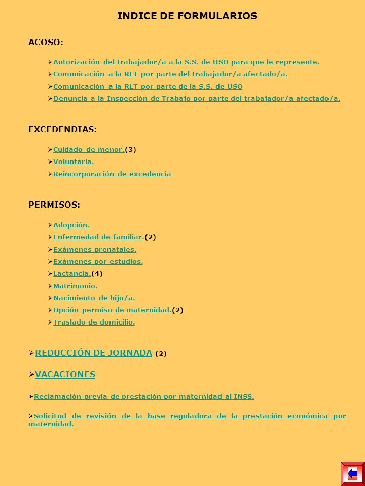 INDICE DE FORMULARIOS ACOSO: EXCEDENDIAS: PERMISOS: