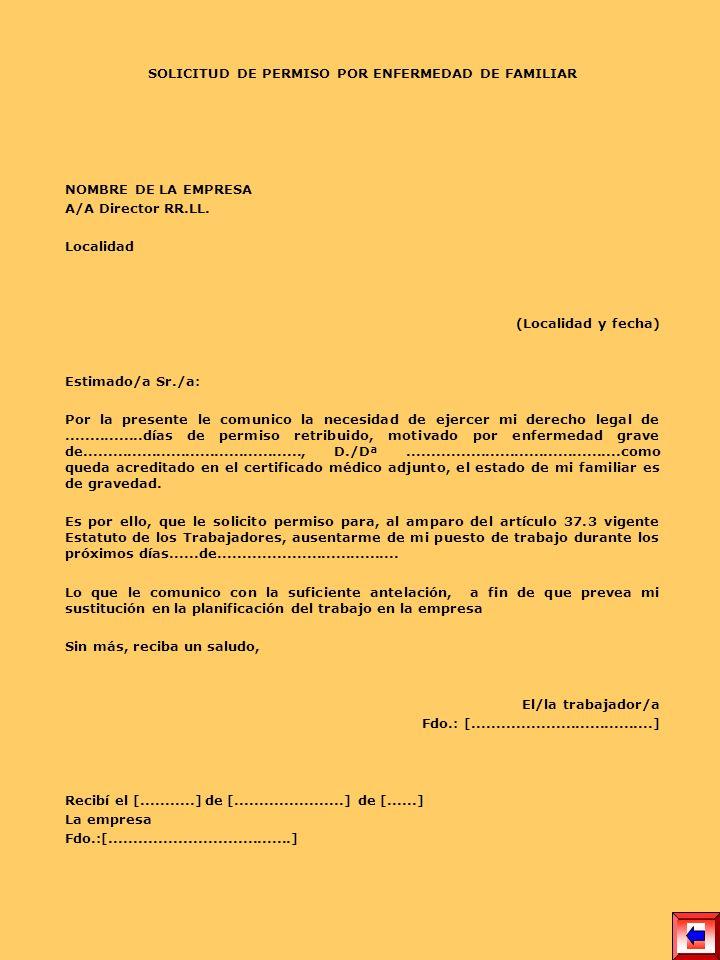 SOLICITUD DE PERMISO POR ENFERMEDAD DE FAMILIAR