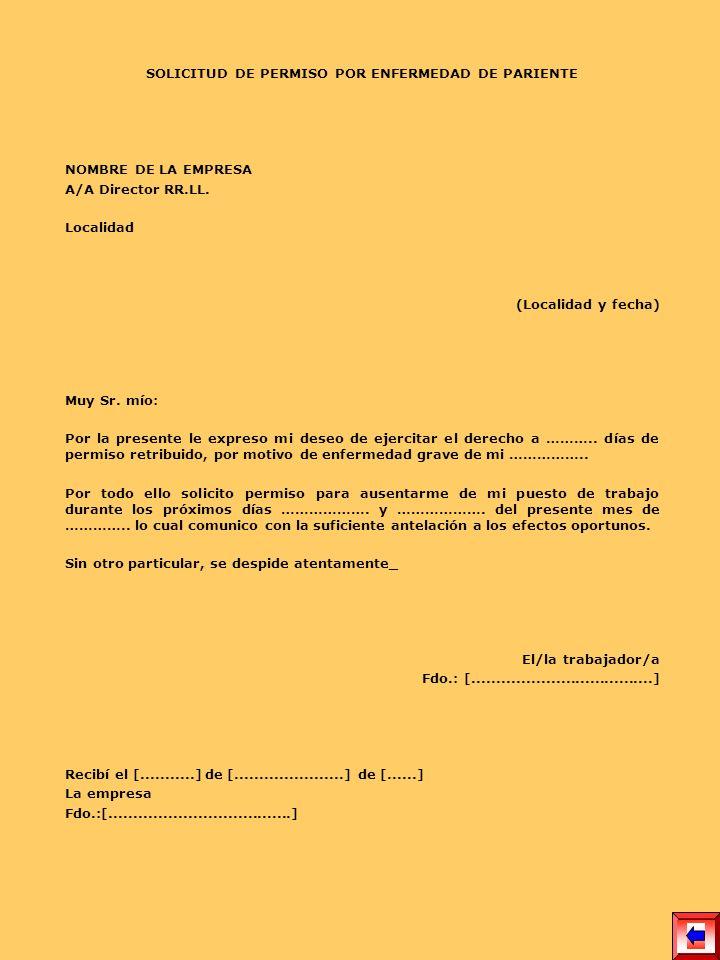 SOLICITUD DE PERMISO POR ENFERMEDAD DE PARIENTE