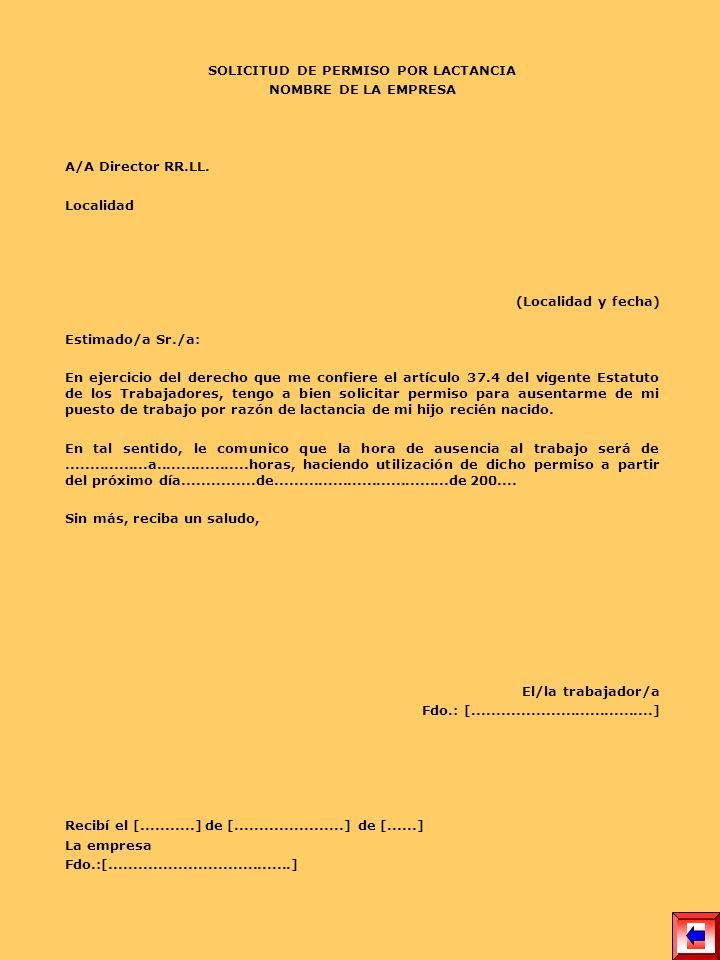 SOLICITUD DE PERMISO POR LACTANCIA