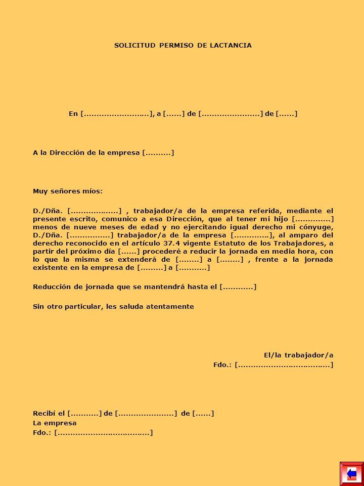 SOLICITUD PERMISO DE LACTANCIA