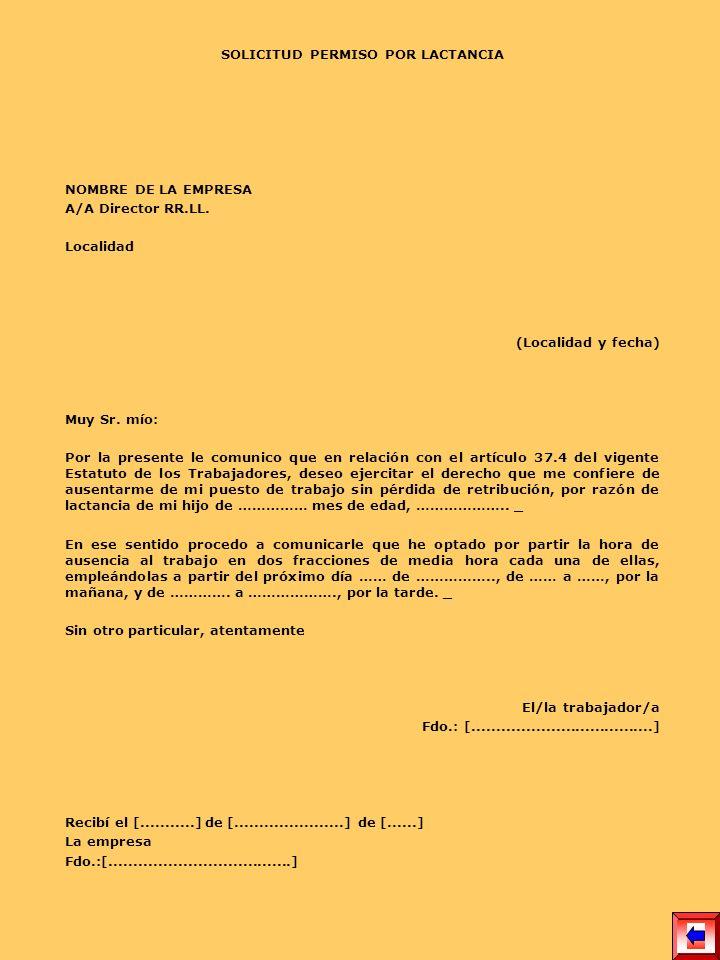 SOLICITUD PERMISO POR LACTANCIA