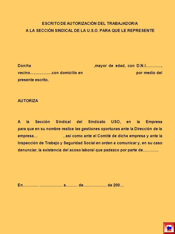 ESCRITO DE AUTORIZACIÓN DEL TRABAJADOR/A