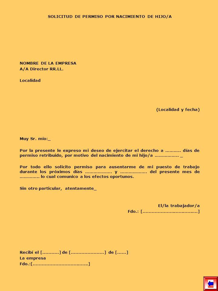 SOLICITUD DE PERMISO POR NACIMIENTO DE HIJO/A