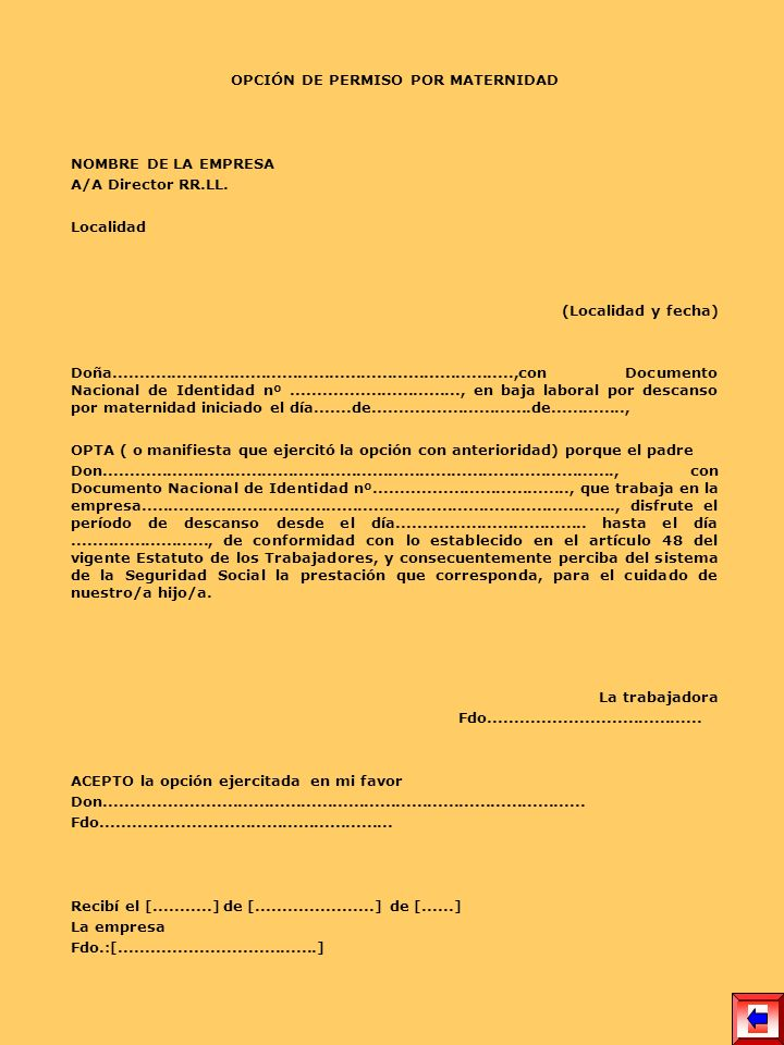 OPCIÓN DE PERMISO POR MATERNIDAD