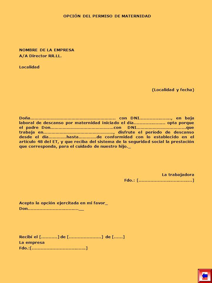 OPCIÓN DEL PERMISO DE MATERNIDAD