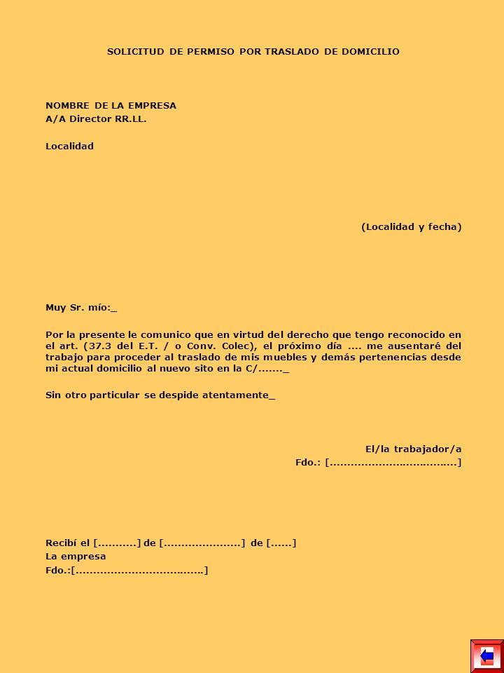 SOLICITUD DE PERMISO POR TRASLADO DE DOMICILIO