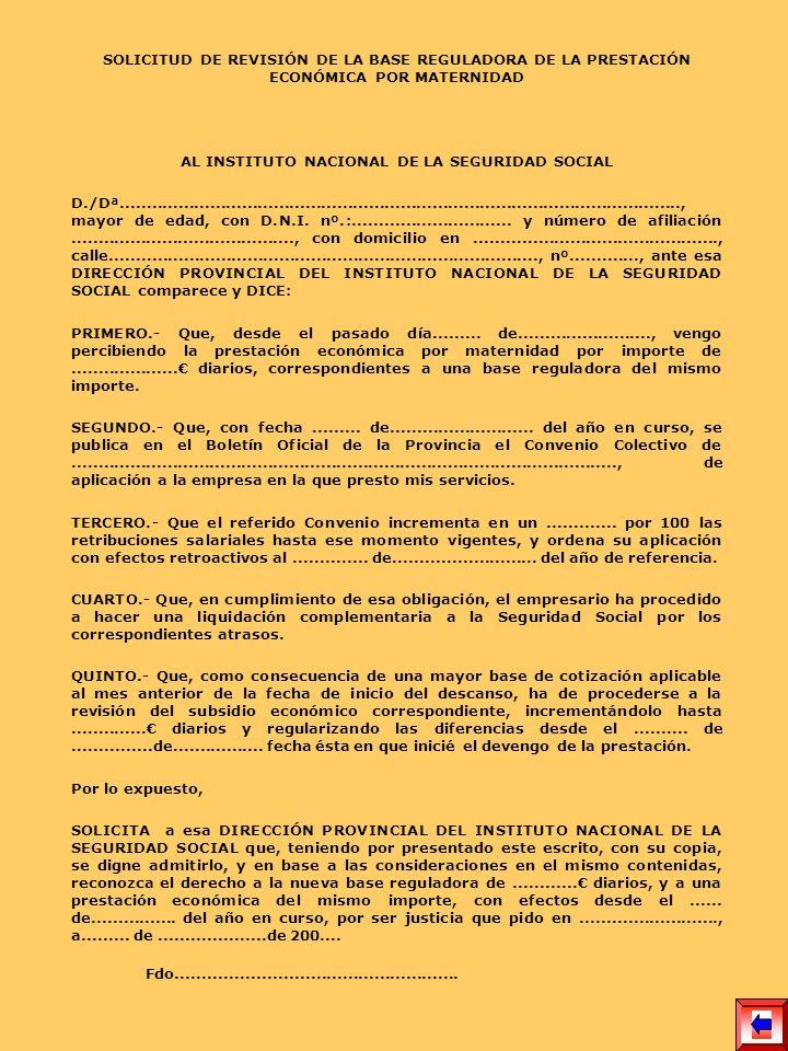 AL INSTITUTO NACIONAL DE LA SEGURIDAD SOCIAL