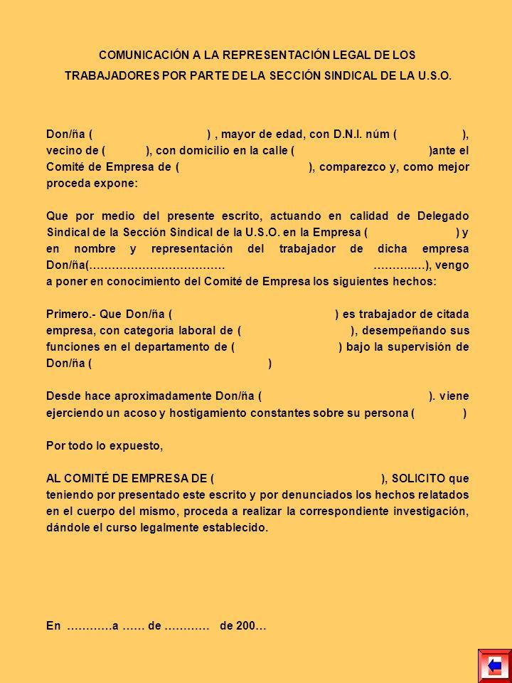 COMUNICACIÓN A LA REPRESENTACIÓN LEGAL DE LOS