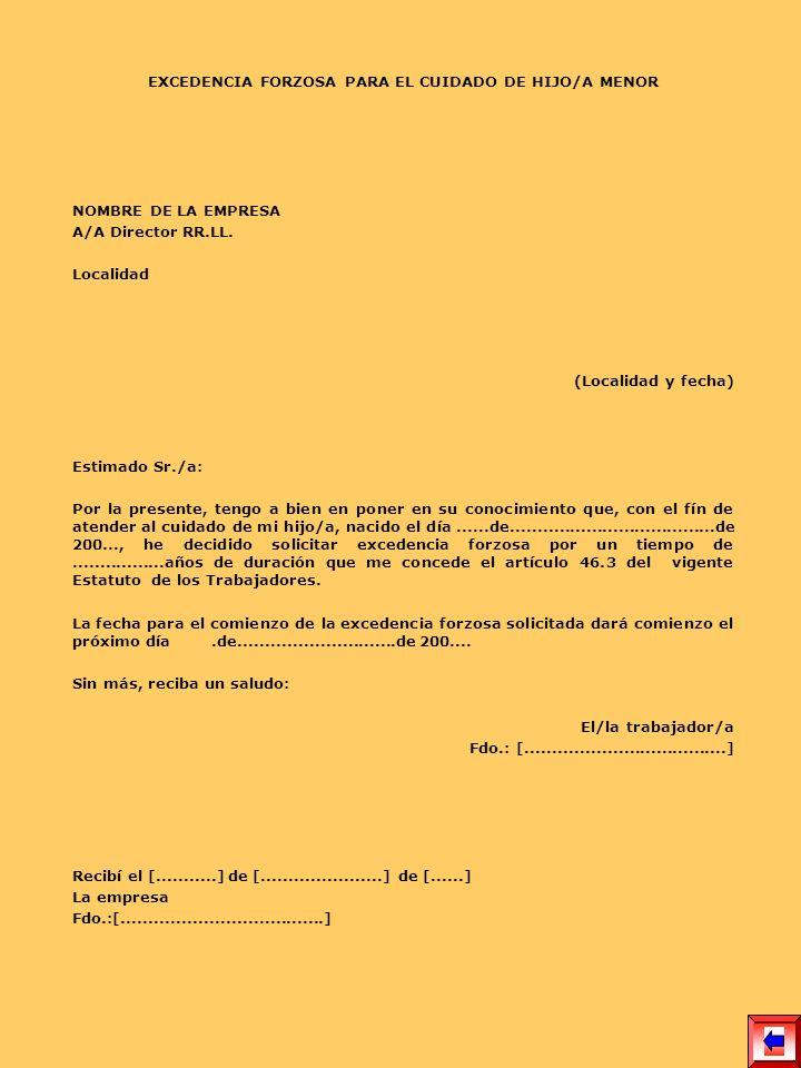 EXCEDENCIA FORZOSA PARA EL CUIDADO DE HIJO/A MENOR