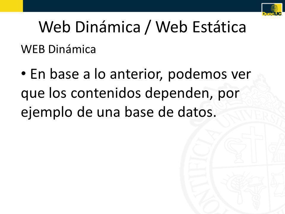 Web Dinámica / Web Estática