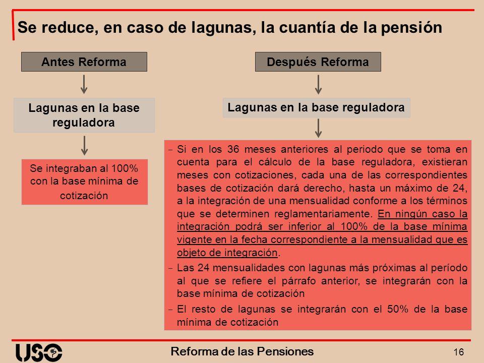 Se reduce, en caso de lagunas, la cuantía de la pensión