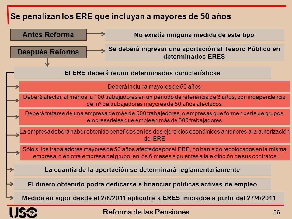 Se penalizan los ERE que incluyan a mayores de 50 años
