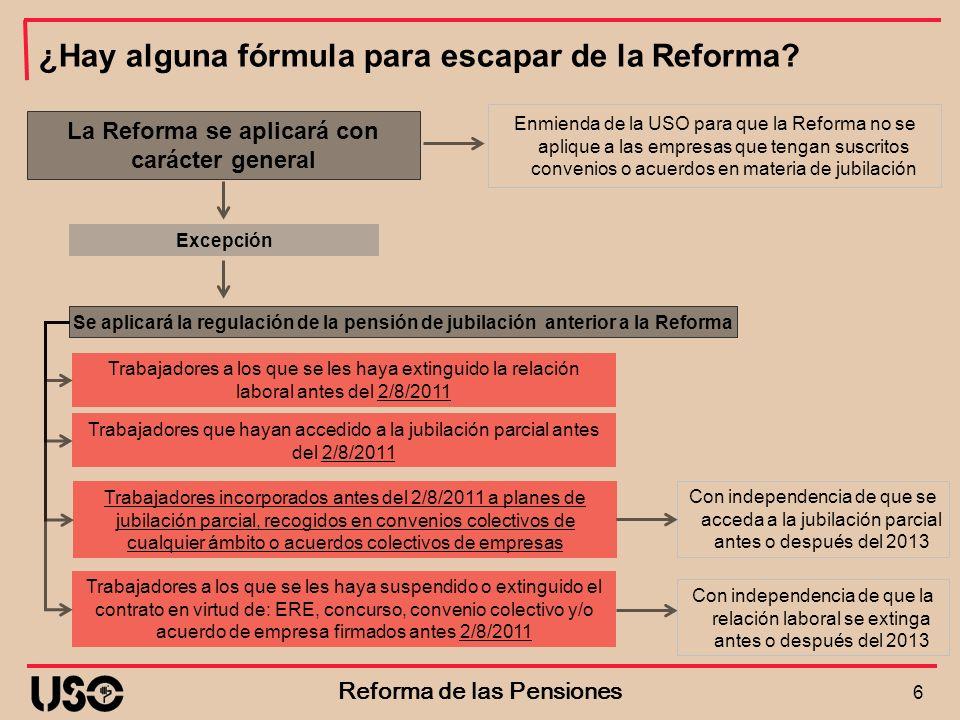 La Reforma se aplicará con carácter general Reforma de las Pensiones