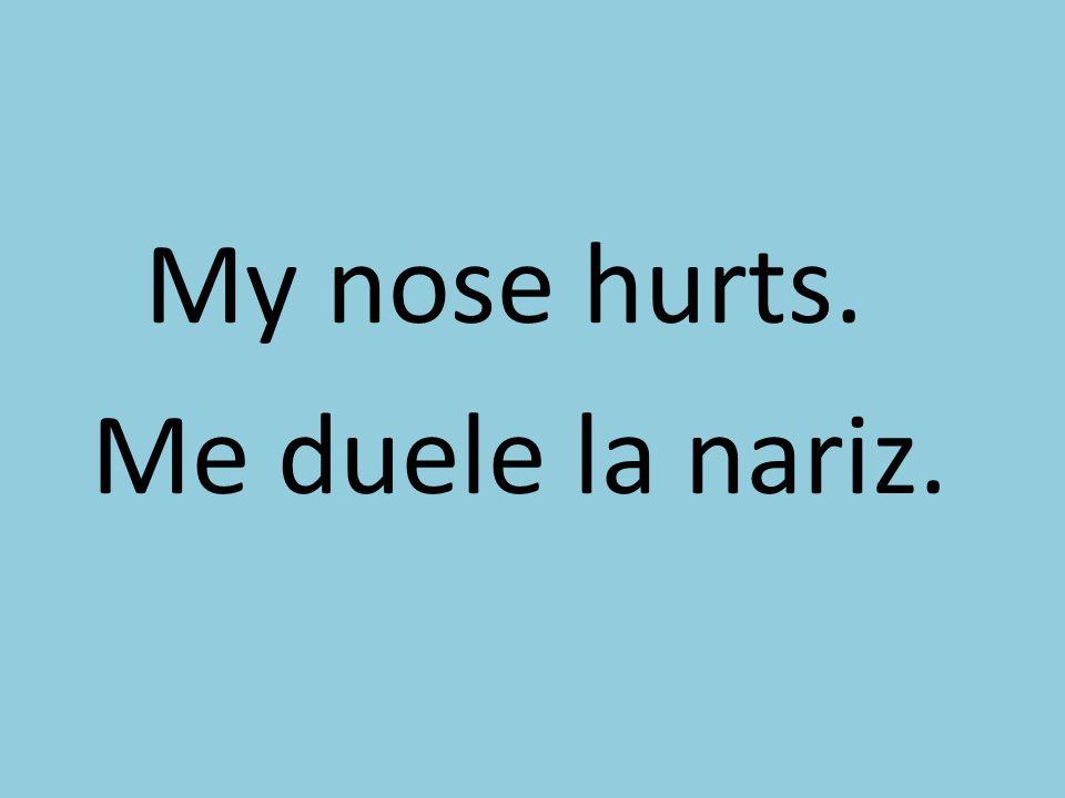 My nose hurts. Me duele la nariz.