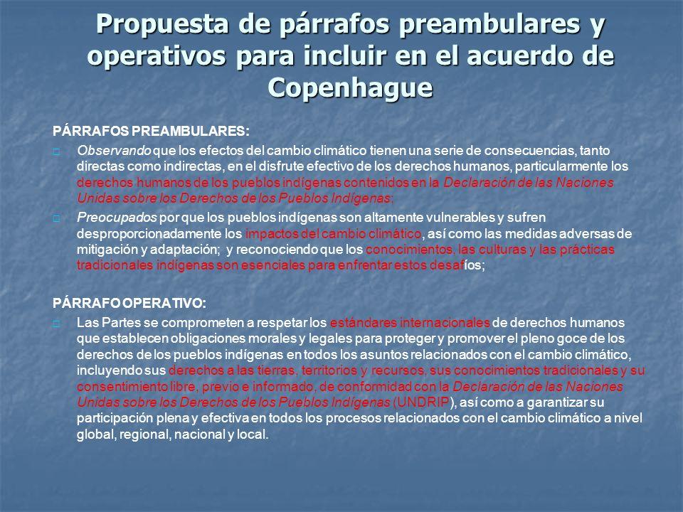 Propuesta de párrafos preambulares y operativos para incluir en el acuerdo de Copenhague
