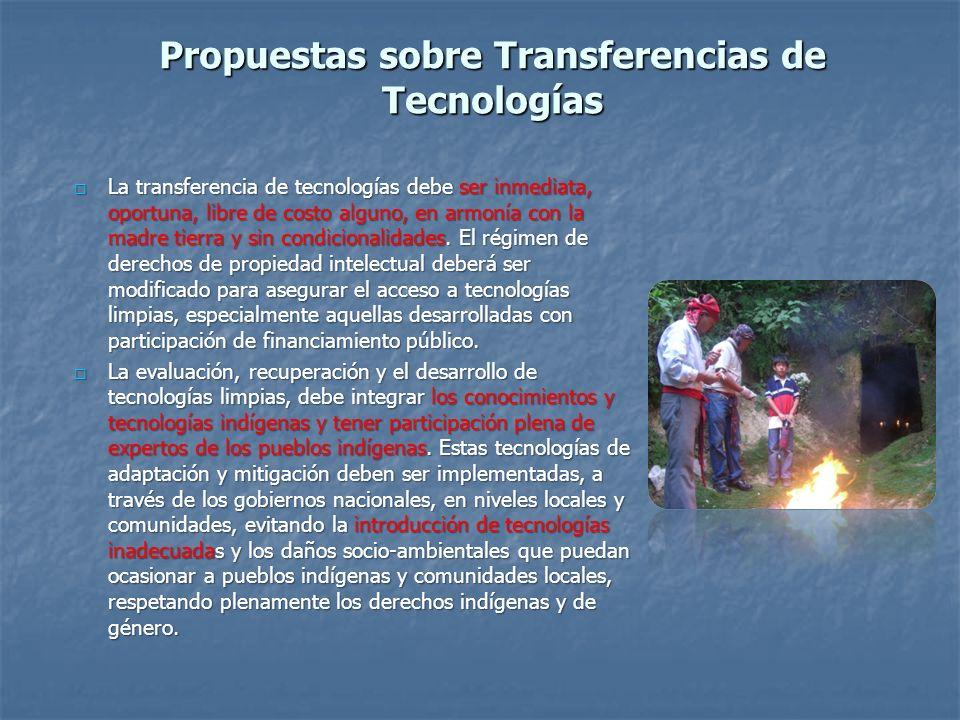 Propuestas sobre Transferencias de Tecnologías