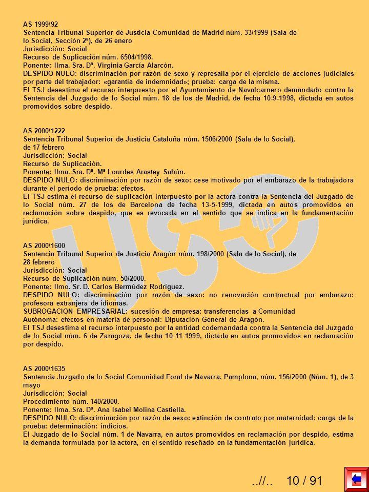 AS 1999\92Sentencia Tribunal Superior de Justicia Comunidad de Madrid núm. 33/1999 (Sala de. lo Social, Sección 2ª), de 26 enero.