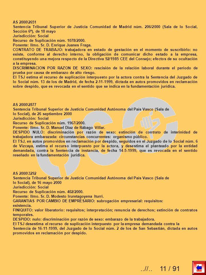 AS 2000\2651 Sentencia Tribunal Superior de Justicia Comunidad de Madrid núm. 206/2000 (Sala de lo Social, Sección 6ª), de 18 mayo.