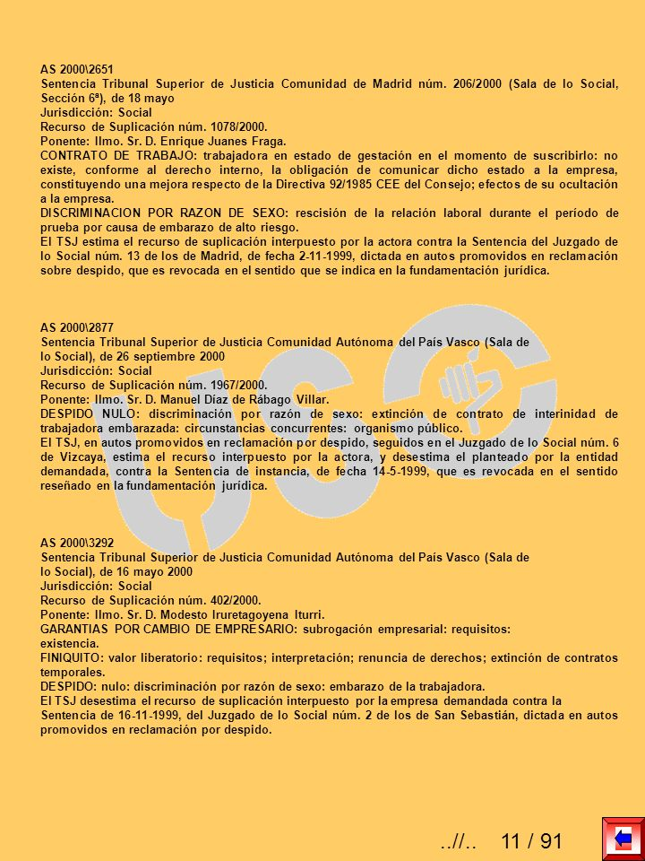 AS 2000\2651Sentencia Tribunal Superior de Justicia Comunidad de Madrid núm. 206/2000 (Sala de lo Social, Sección 6ª), de 18 mayo.