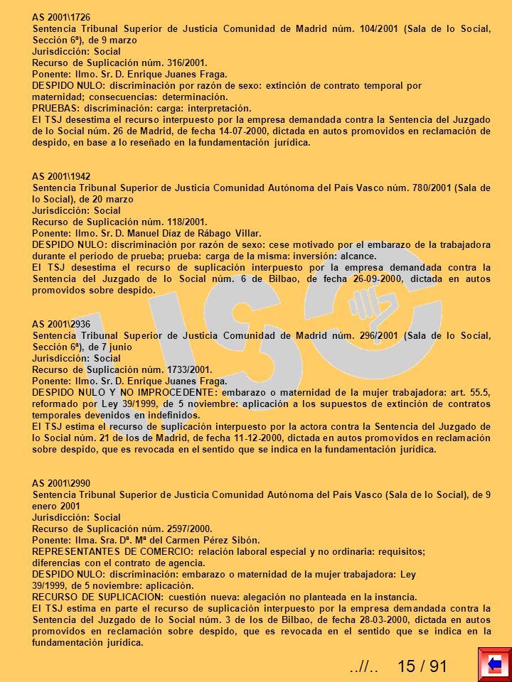AS 2001\1726 Sentencia Tribunal Superior de Justicia Comunidad de Madrid núm. 104/2001 (Sala de lo Social, Sección 6ª), de 9 marzo.