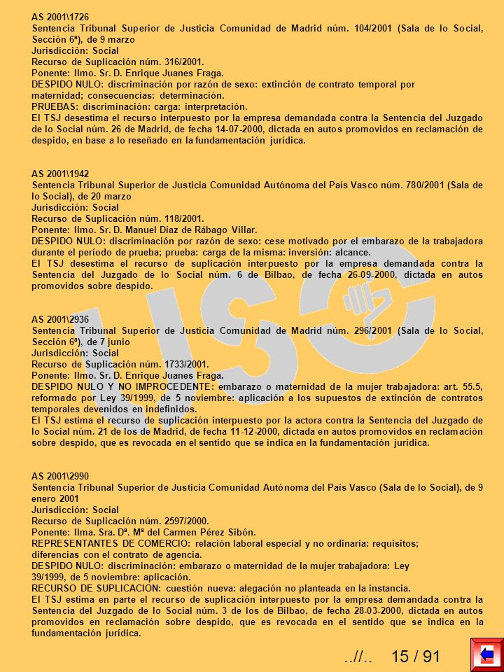 AS 2001\1726Sentencia Tribunal Superior de Justicia Comunidad de Madrid núm. 104/2001 (Sala de lo Social, Sección 6ª), de 9 marzo.