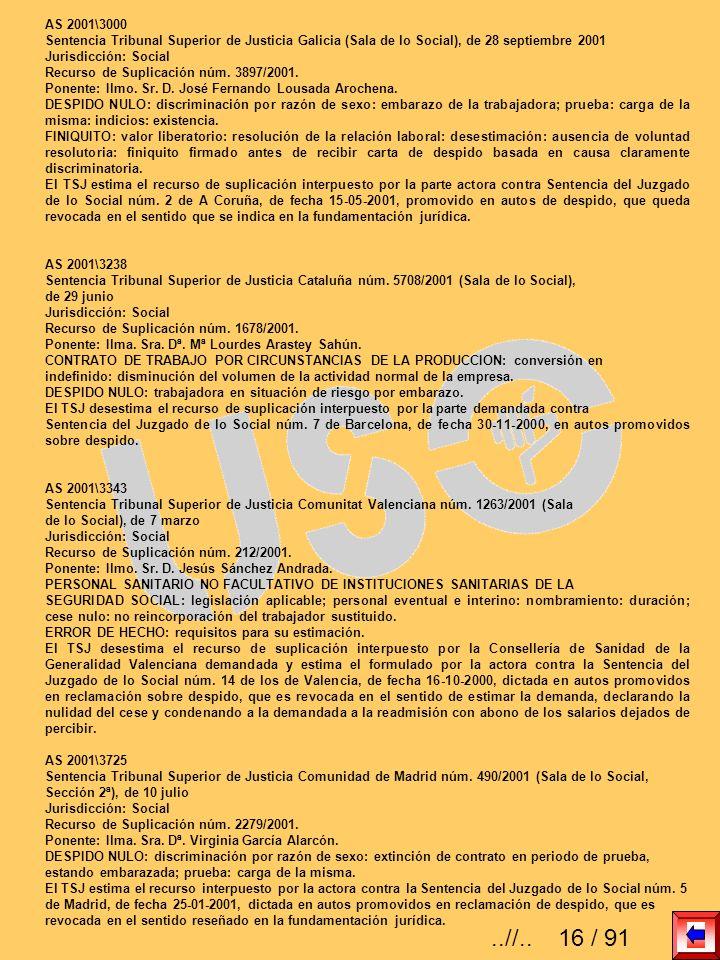 AS 2001\3000Sentencia Tribunal Superior de Justicia Galicia (Sala de lo Social), de 28 septiembre 2001.