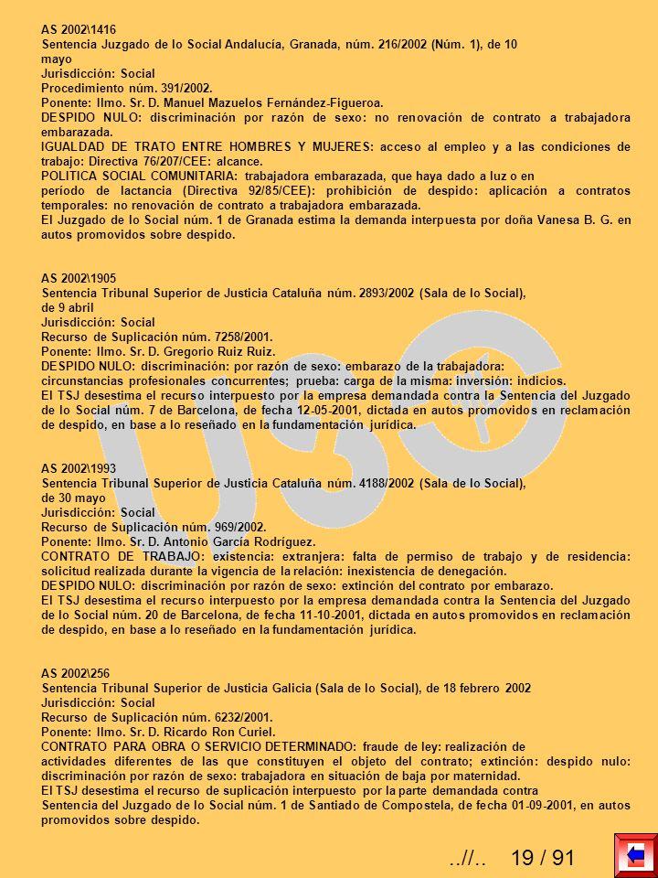 AS 2002\1416 Sentencia Juzgado de lo Social Andalucía, Granada, núm. 216/2002 (Núm. 1), de 10. mayo.