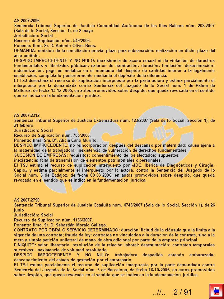 AS 2007\2096 Sentencia Tribunal Superior de Justicia Comunidad Autónoma de les Illes Balears núm. 202/2007 (Sala de lo Social, Sección 1), de 2 mayo.