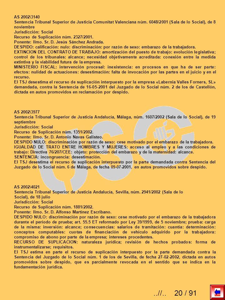 AS 2002\3140Sentencia Tribunal Superior de Justicia Comunitat Valenciana núm. 6048/2001 (Sala de lo Social), de 8 noviembre.