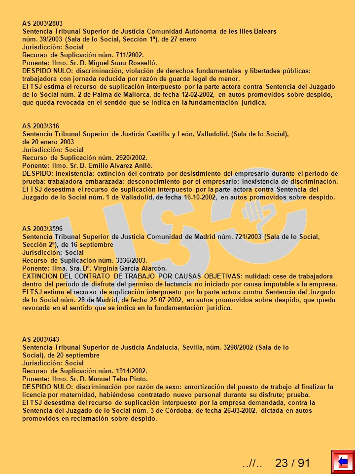 AS 2003\2803 Sentencia Tribunal Superior de Justicia Comunidad Autónoma de les Illes Balears.