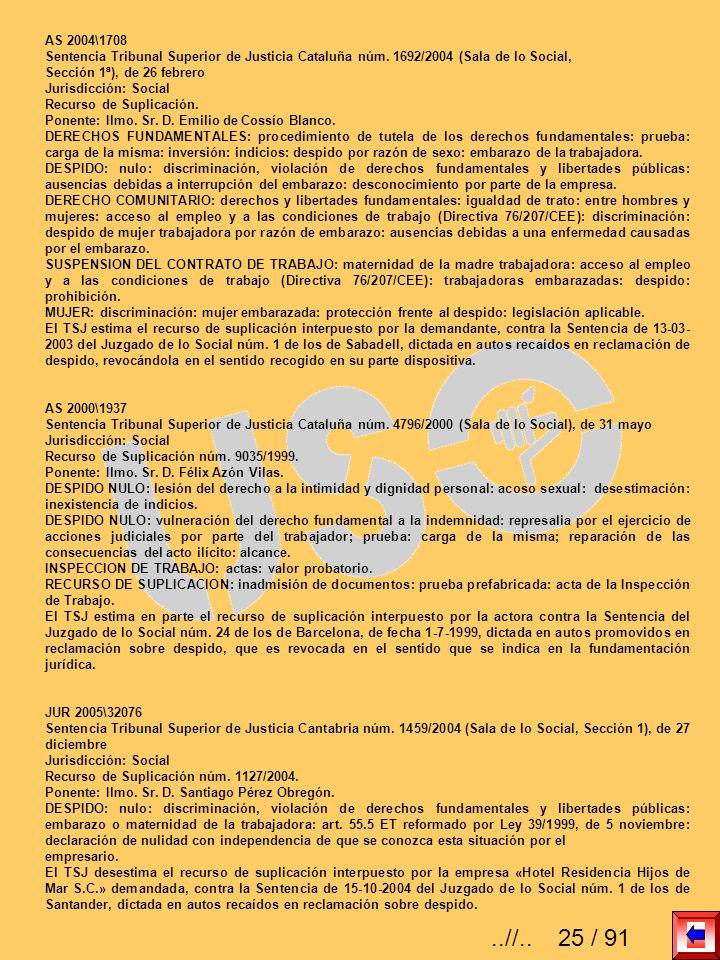 AS 2004\1708Sentencia Tribunal Superior de Justicia Cataluña núm. 1692/2004 (Sala de lo Social, Sección 1ª), de 26 febrero.
