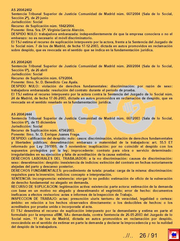 AS 2004\2402 Sentencia Tribunal Superior de Justicia Comunidad de Madrid núm. 667/2004 (Sala de lo Social, Sección 2ª), de 29 junio.