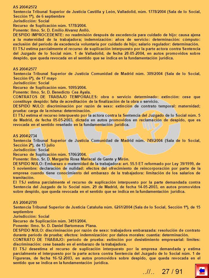 AS 2004\2572 Sentencia Tribunal Superior de Justicia Castilla y León, Valladolid, núm. 1778/2004 (Sala de lo Social, Sección 1ª), de 6 septiembre.