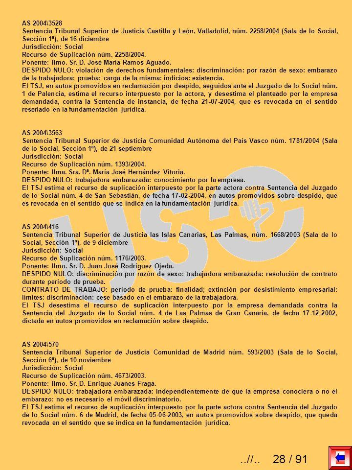 AS 2004\3528 Sentencia Tribunal Superior de Justicia Castilla y León, Valladolid, núm. 2258/2004 (Sala de lo Social, Sección 1ª), de 16 diciembre.