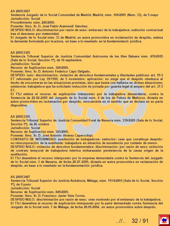 AS 2005\3007 Sentencia Juzgado de lo Social Comunidad de Madrid, Madrid, núm. 169/2005 (Núm. 33), de 5 mayo.