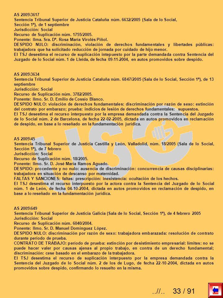 AS 2005\3617 Sentencia Tribunal Superior de Justicia Cataluña núm. 6632/2005 (Sala de lo Social, Sección 1ª), de 1 septiembre.