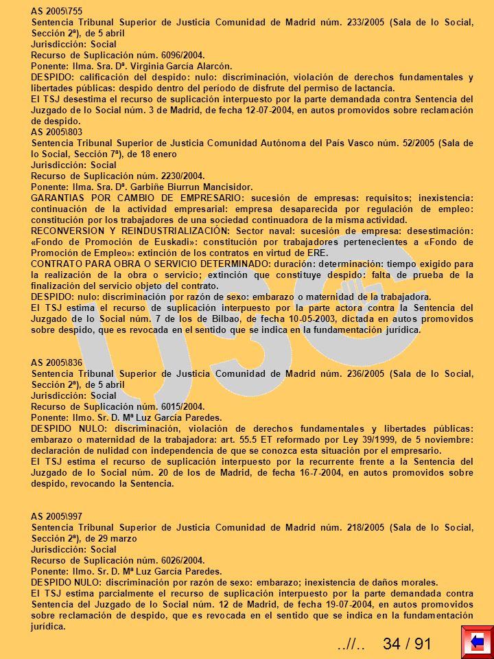 AS 2005\755 Sentencia Tribunal Superior de Justicia Comunidad de Madrid núm. 233/2005 (Sala de lo Social, Sección 2ª), de 5 abril.