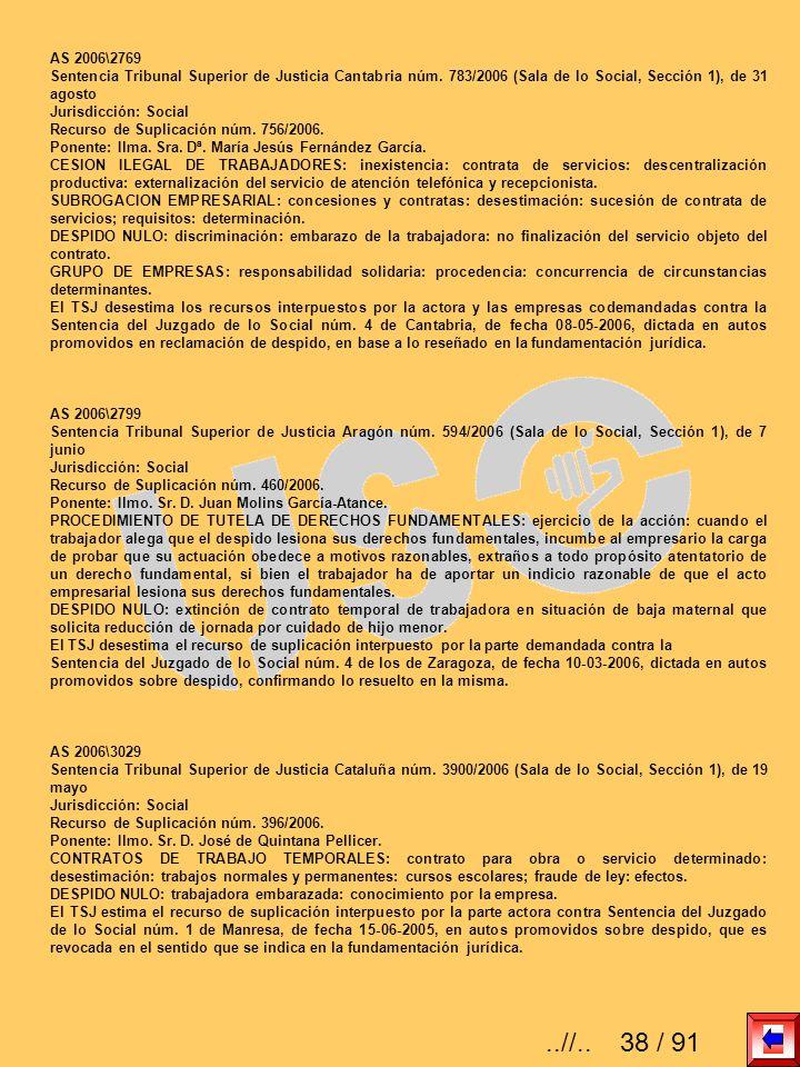 AS 2006\2769Sentencia Tribunal Superior de Justicia Cantabria núm. 783/2006 (Sala de lo Social, Sección 1), de 31 agosto.