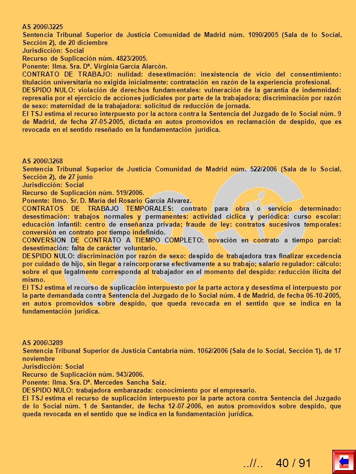 AS 2006\3225 Sentencia Tribunal Superior de Justicia Comunidad de Madrid núm. 1090/2005 (Sala de lo Social, Sección 2), de 20 diciembre.