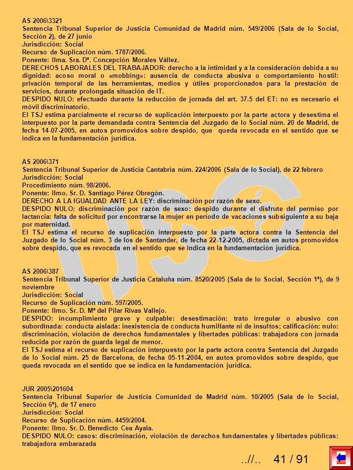 AS 2006\3321Sentencia Tribunal Superior de Justicia Comunidad de Madrid núm. 549/2006 (Sala de lo Social, Sección 2), de 27 junio.