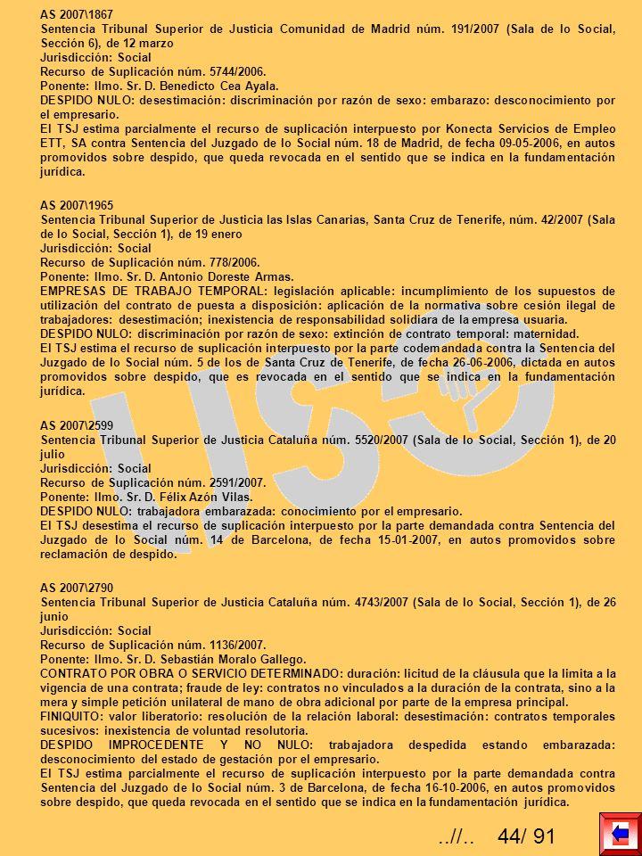 AS 2007\1867 Sentencia Tribunal Superior de Justicia Comunidad de Madrid núm. 191/2007 (Sala de lo Social, Sección 6), de 12 marzo.