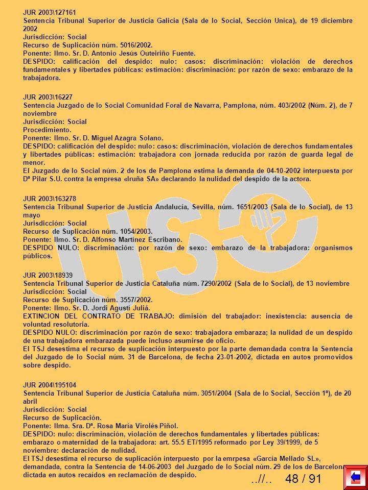 JUR 2003\127161 Sentencia Tribunal Superior de Justicia Galicia (Sala de lo Social, Sección Unica), de 19 diciembre 2002.