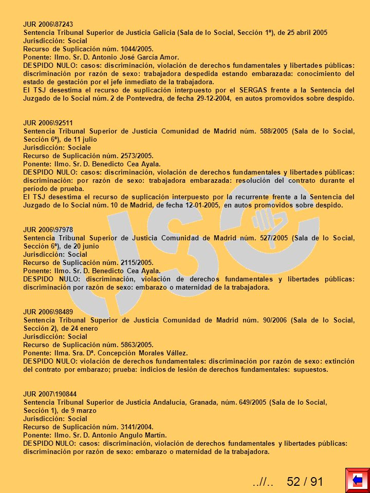 JUR 2006\87243Sentencia Tribunal Superior de Justicia Galicia (Sala de lo Social, Sección 1ª), de 25 abril 2005.