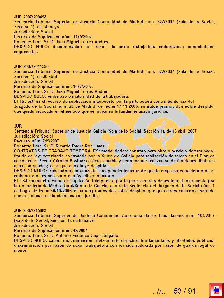 JUR 2007\200498 Sentencia Tribunal Superior de Justicia Comunidad de Madrid núm. 327/2007 (Sala de lo Social, Sección 1), de 14 mayo.