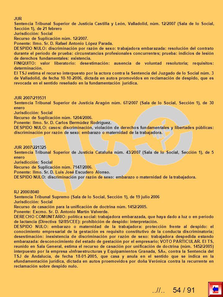 JURSentencia Tribunal Superior de Justicia Castilla y León, Valladolid, núm. 12/2007 (Sala de lo Social, Sección 1), de 21 febrero.