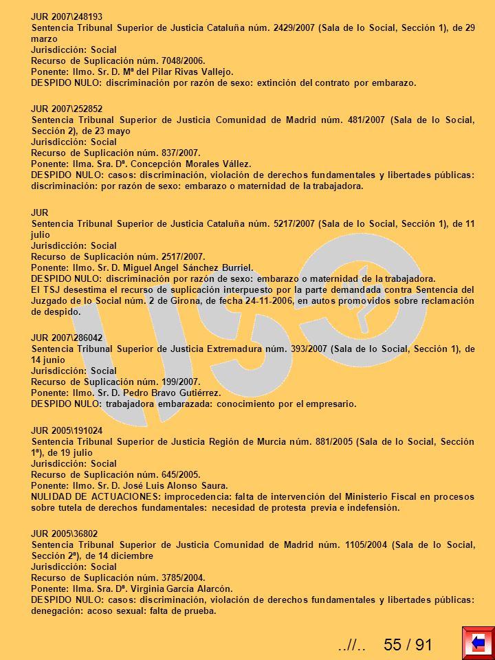 JUR 2007\248193Sentencia Tribunal Superior de Justicia Cataluña núm. 2429/2007 (Sala de lo Social, Sección 1), de 29 marzo.